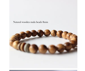 Tibetan Buddhism Mala Prayer beads Handmade Lampwork Natural Wood Beads Stretch Bracelets