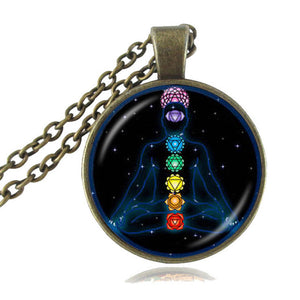 7 chakra pendant necklace with gold lace