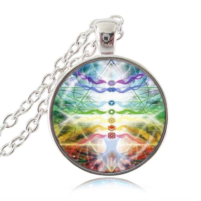 7 chakra pendant necklace with silver lace