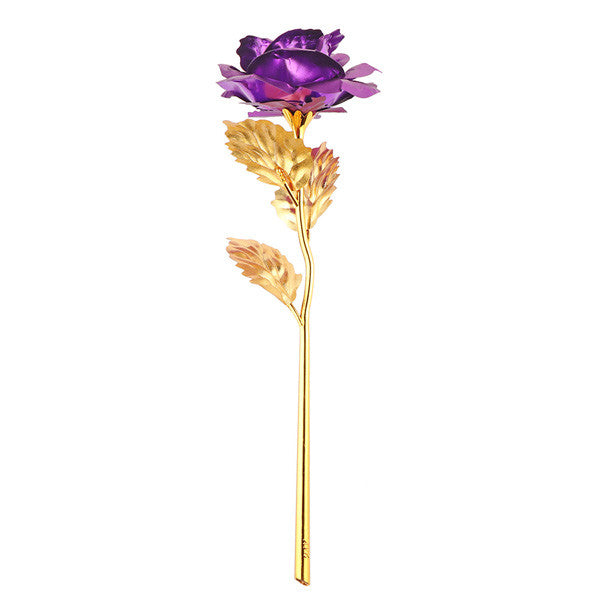 24k Gold Foil Plated Rose Dipped Rose Artificial Flower Creative Gift For 2017 Valentine's Day Craft Birthday Home Decoration