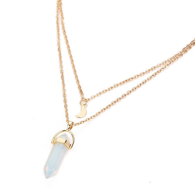 quartz white stone golden necklace