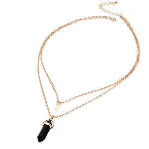 quartz black stone golden necklace