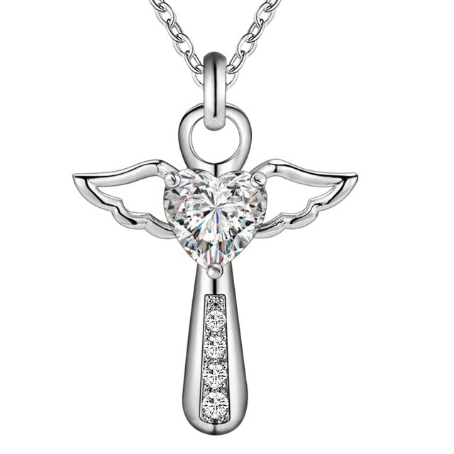 angel wings cross necklace with crystal pendant