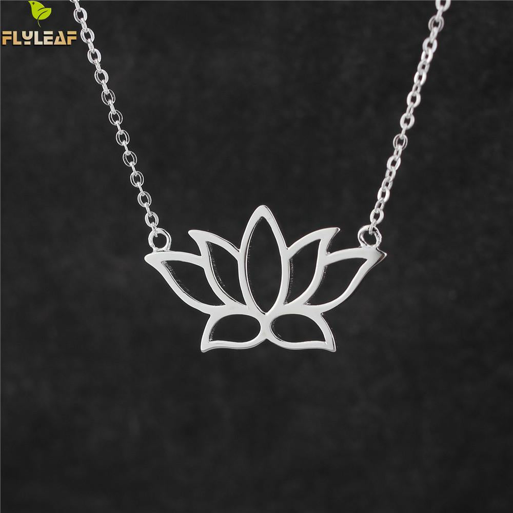Sterling Silver Lotus Flower Necklace with Pendant