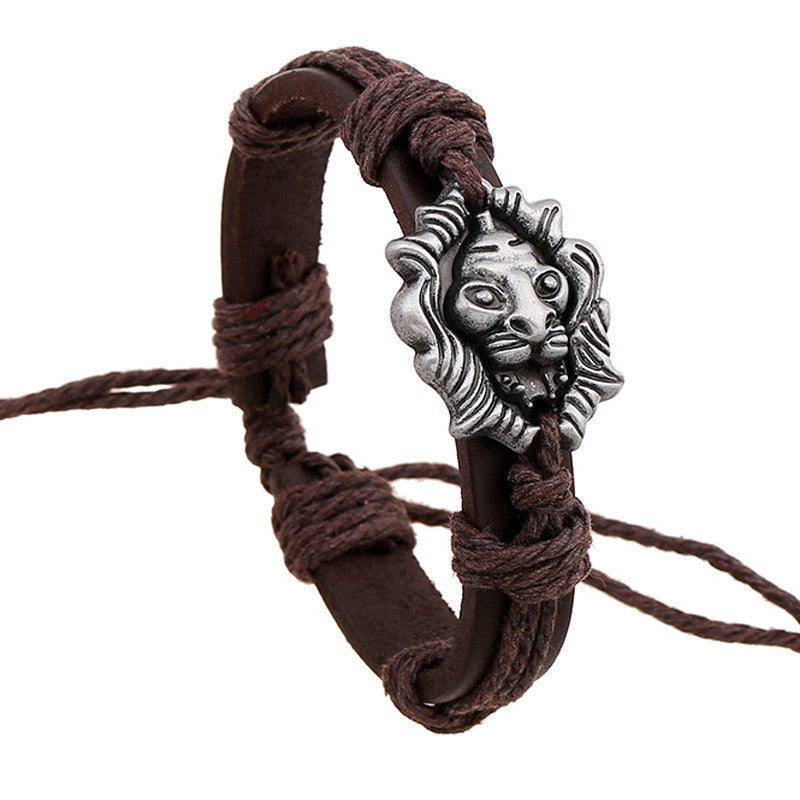 brown leather bracelet with silver lion head pendant