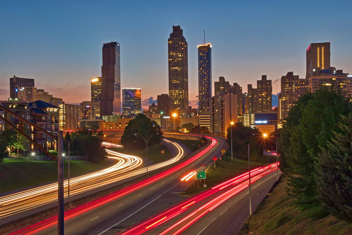 Atlanta Skyline Jackson Street Bridge Canvas Print Wall Art