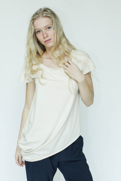 Asymmetrical Tee with Scoop Neck