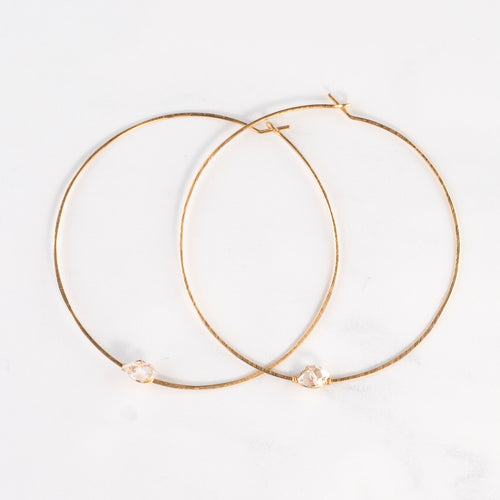BASIC HERKIMER HOOP EARRINGS