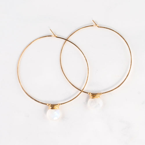 SINGLE STONE BASIC HOOPS EARRINGS