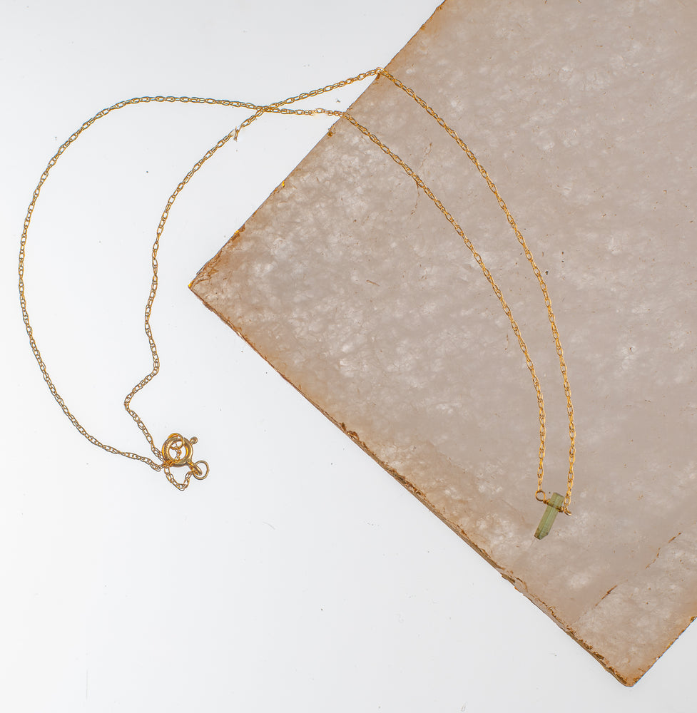 Load image into Gallery viewer, Raw Tourmaline Dainty Necklace