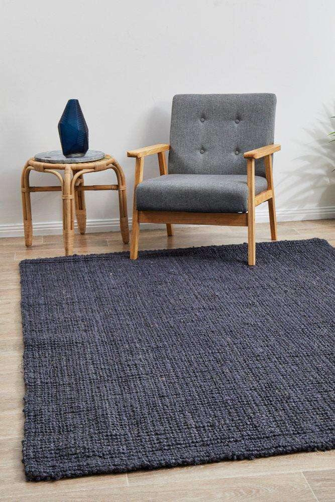 Anahola Chunky Jute Rug Navy | Free Delivery Australia Wide | Simple Style Co