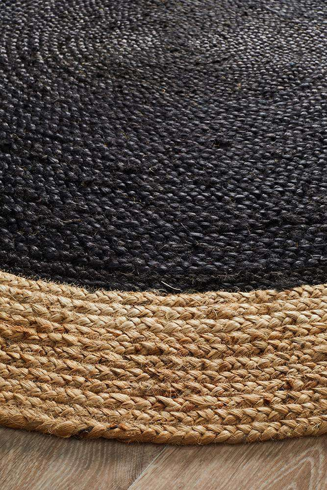 Bowen Black Round Jute Rug - Simple Style Co