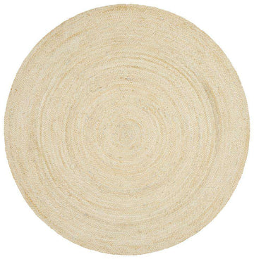 Byron Bleached Jute Rug - Round - Simple Style Co