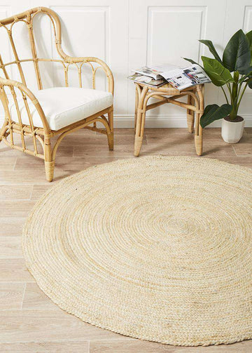 Simple Style Co: Byron Bleached Jute Rug  Round | Free Delivery