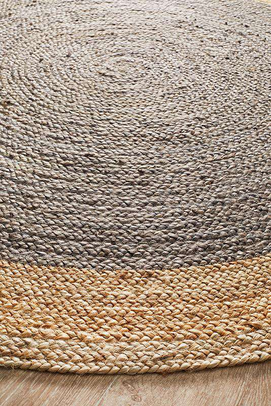 Atrium Jute Round Rug Charcoal by Rug Culture