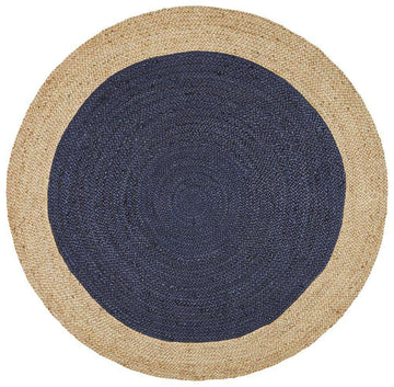 Atrium Polo Navy Round Jute Rug - Simple Style Co