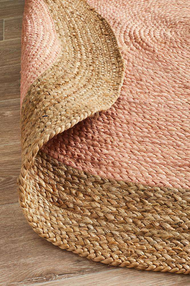 Florence Pink Round Jute Rug - Simple Style Co