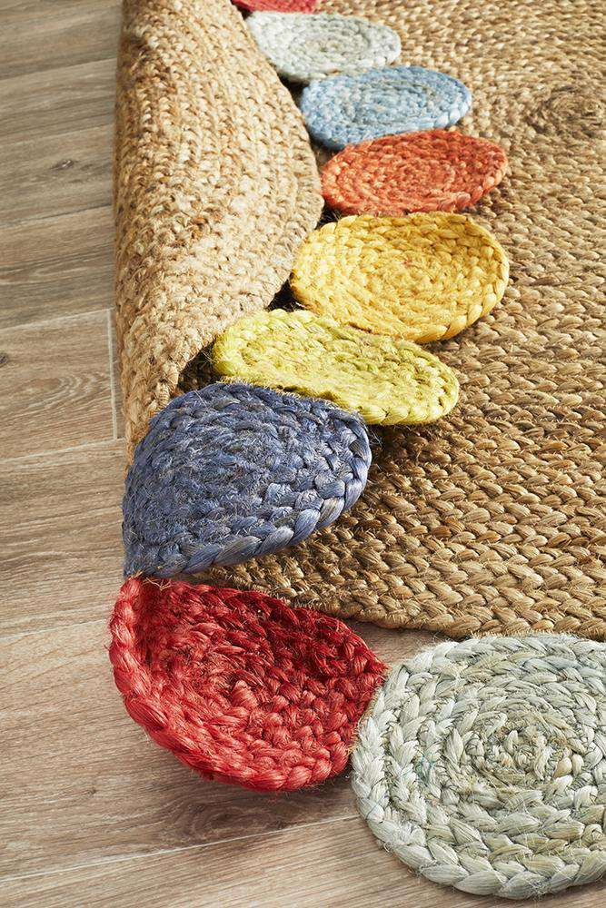 Daisy Multicolour Round Jute Rug - Simple Style Co