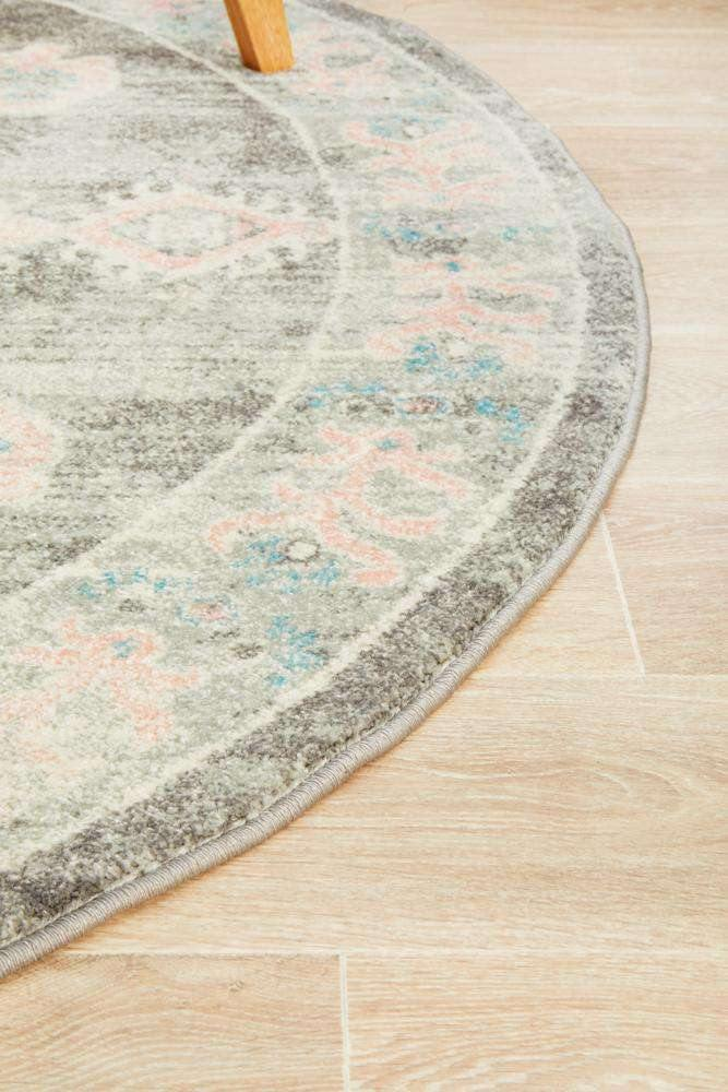 Avenue 701 Grey & Pink Transitional Round Rug - Simple Style Co