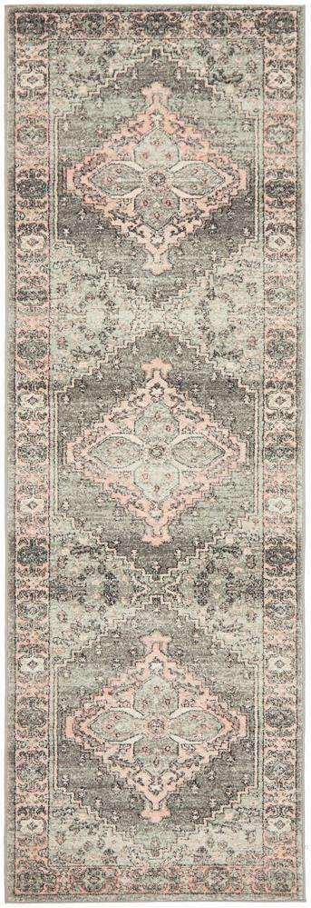 Estera Grey & Blush Traditional Runner Rug - Simple Style Co