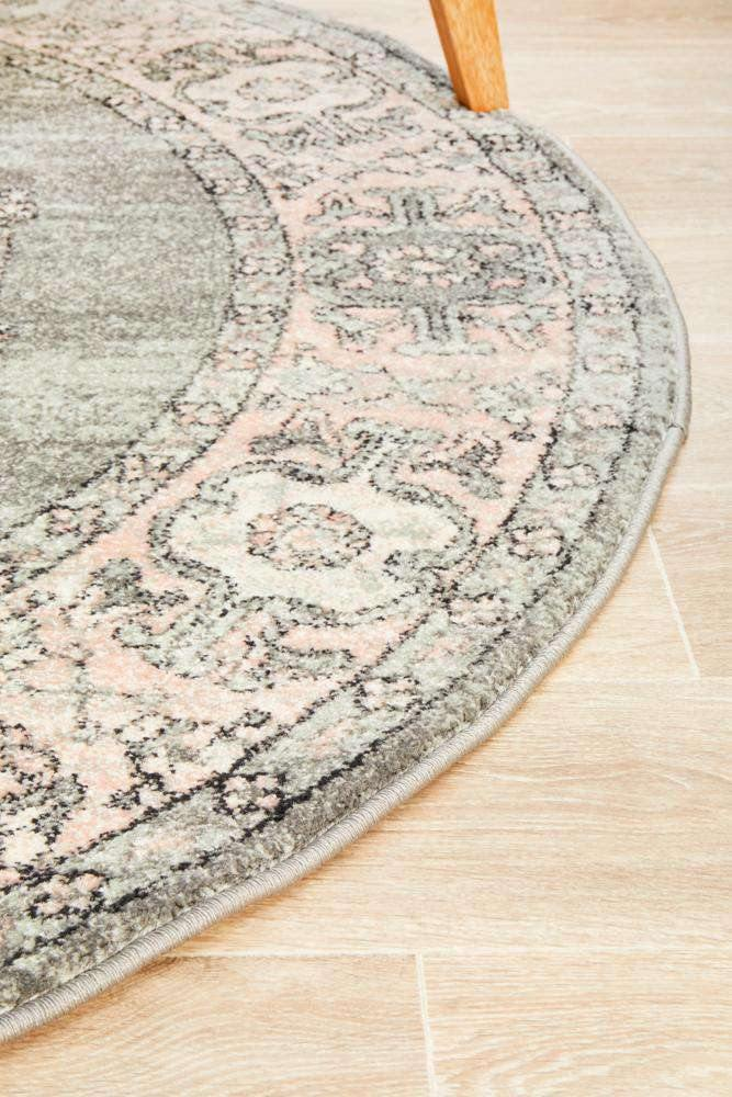Avenue 703 Grey & Blush Traditional Round Rug - Simple Style Co