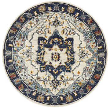 Erdek Blue Medallion Round Rug - Simple Style Co