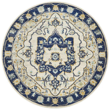 Erdek Round Medallion Rug Navy | Free Delivery | Simple Style Co