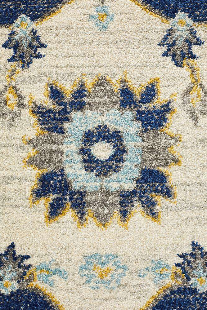 Erdek Traditional Medallion Rug - Navy