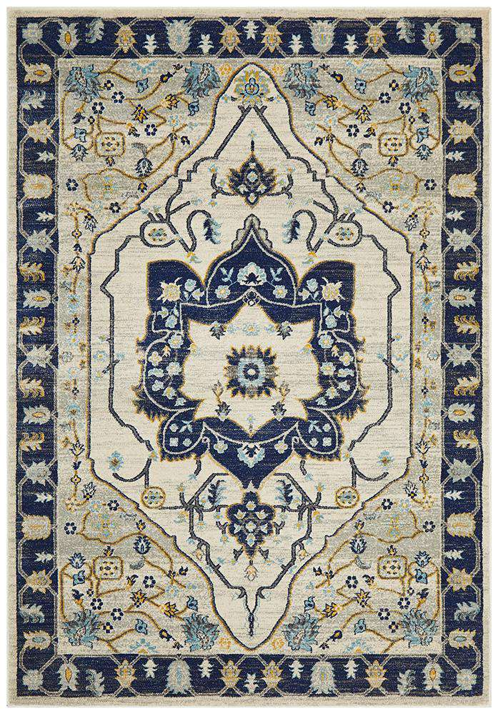 Erdek Traditional Medallion Rug Navy | Free Delivery | Simple Style Co