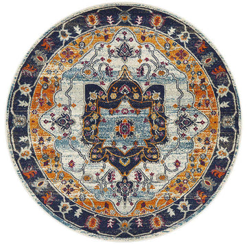 Erdek Rust Traditional Medallion Round Rug - Simple Style Co