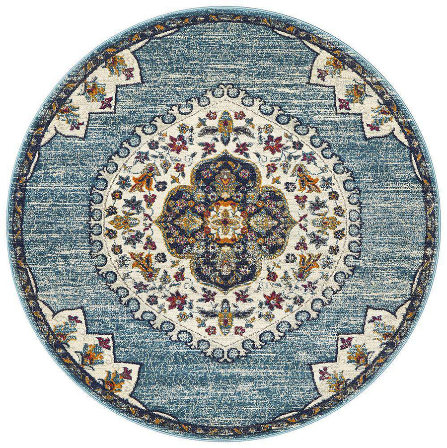 Farrar Round Medallion Rug Blue | Free Delivery | Simple Style Co