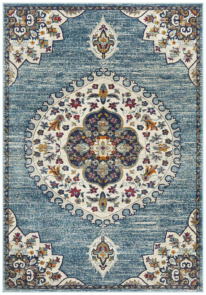 Farrar Traditional Medallion Rug Blue | Free Delivery | Simple Style Co