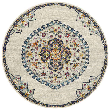 vFarrar Round Medallion Rug White | Free Delivery | Simple Style Co
