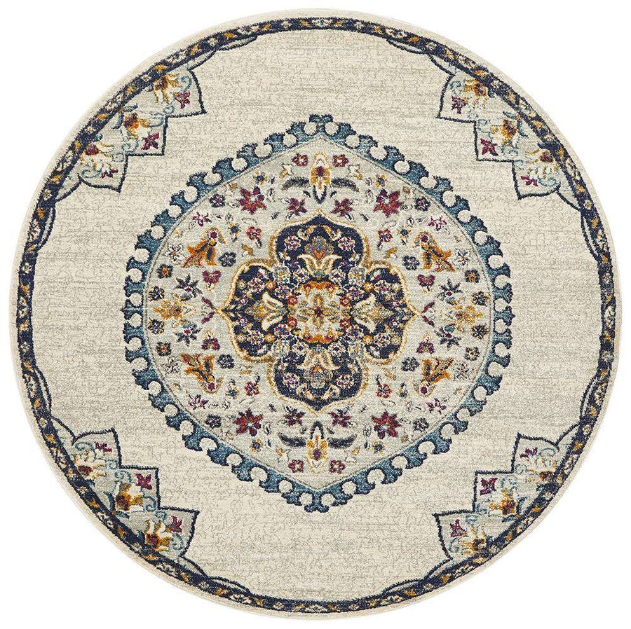 Farrar Beige Medallion Round Rug - Simple Style Co