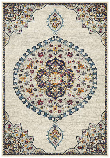 Farrar Traditional Medallion Rug White | Free Delivery | Simple Style Co
