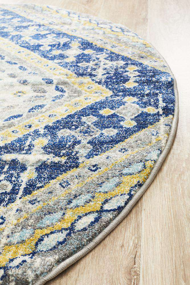 Toulouse Traditional Round Rug -Navy