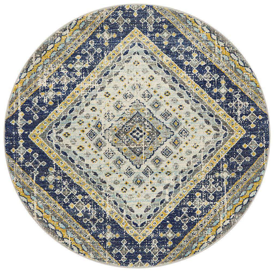 Toulouse Traditional Round Rug Navy | Free Delivery | Simple Style Co