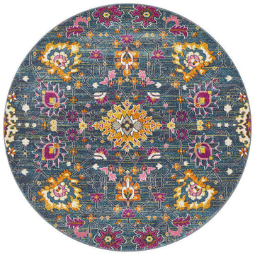 Lisse Traditional Round Rug - Blue - Simple Style Co