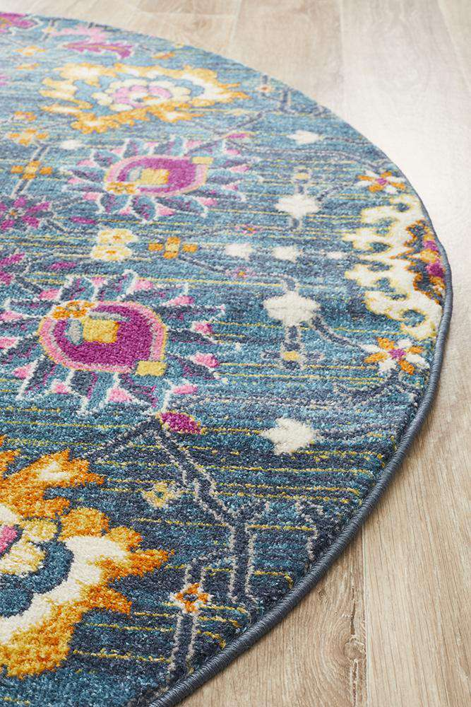 Lisse Traditional Round Rug - Blue