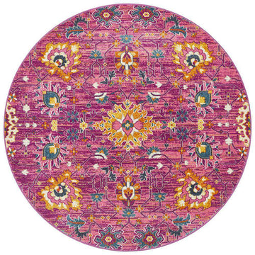 Lisse Traditional Round Rug - Fuchsia