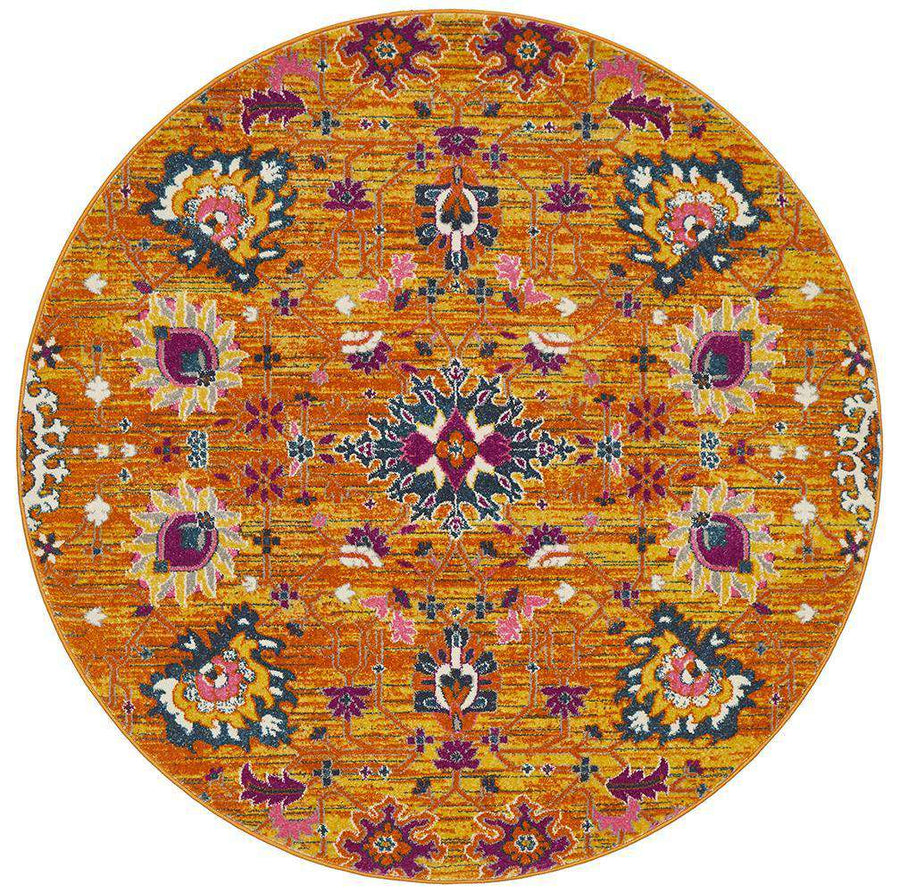 Lisse Traditional Round Rug - Rust - Simple Style Co