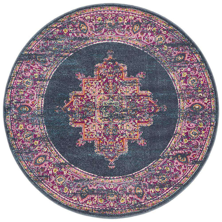 Goa Navy Traditional Round Rug - Simple Style Co