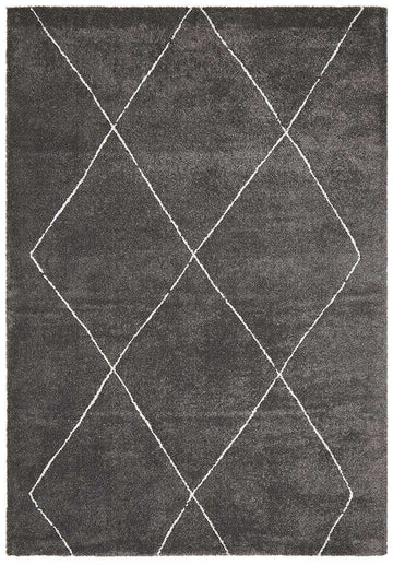 Manhattan Diamond Rug Charcoal | Free Delivery | Simple Style Co