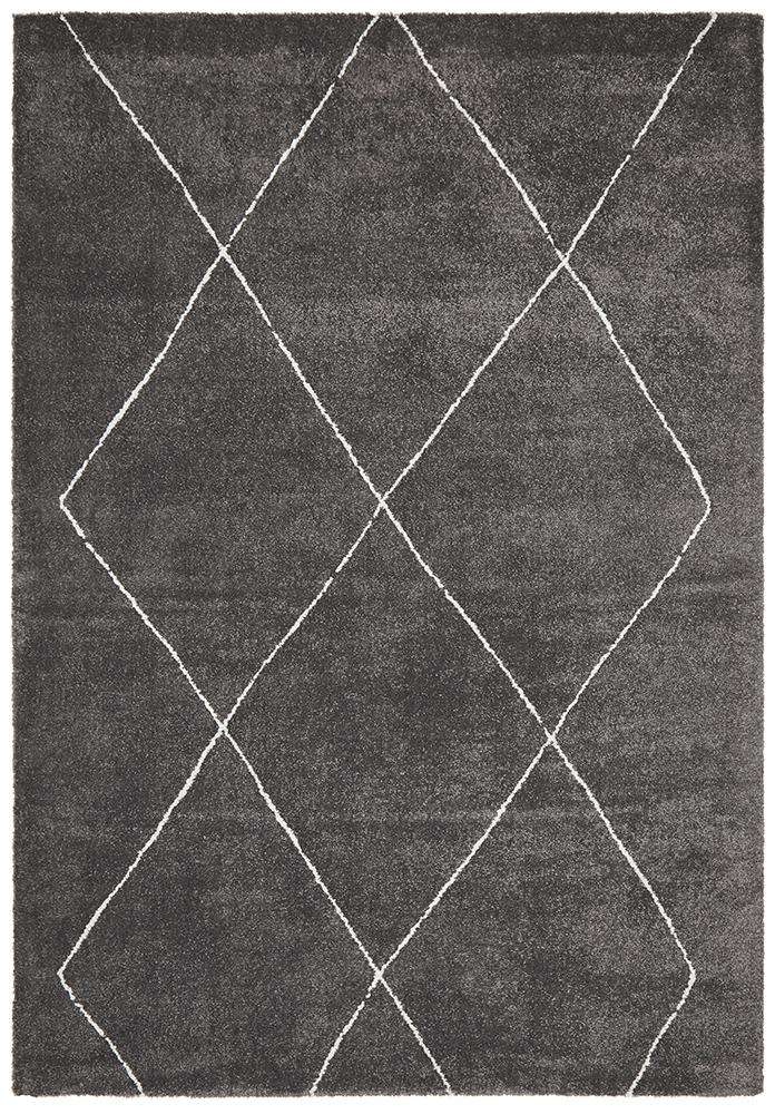 Manhattan Diamond Rug Charcoal | Modern Rugs | AfterPay Rugs
