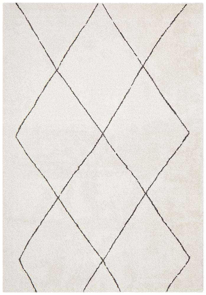 Manhattan Diamond Rug Ivory | Modern Rugs | AfterPay Rugs