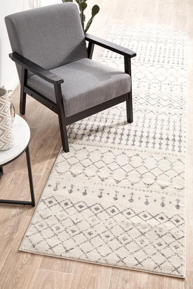 Elsa Transitional Trellis Silver Grey Hallway Runner - Simple Style Co