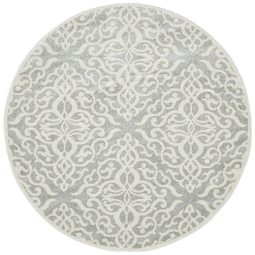 Lydia Floral Silvery Grey Round Rug - Simple Style Co