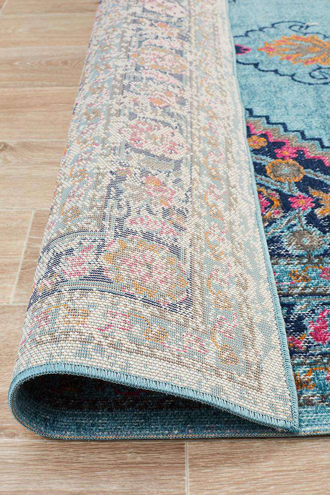 Fethiye Blue Distressed Diamond Rug - Simple Style Co