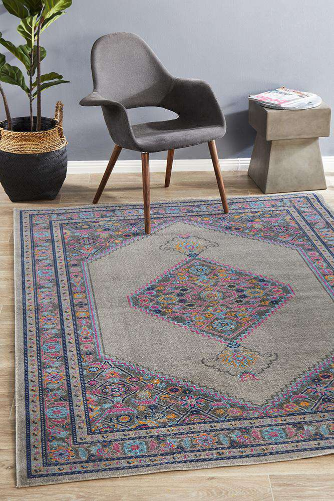 Fethiye Grey Distressed Diamond Rug - Simple Style Co