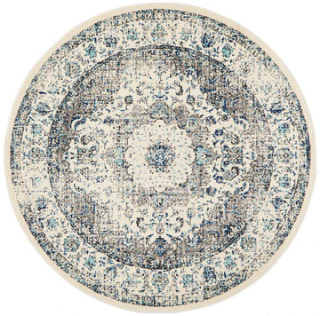 Sivas Distressed Blue Round Rug - Simple Style Co